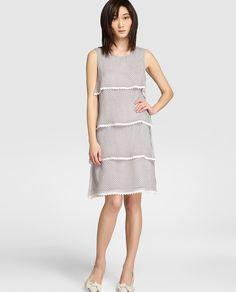 9a33a3b9c3c Vestido de mujer Antea de capas con adorno de puntilla Vestidos Para  Trabajar