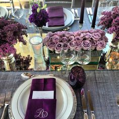 Long tables feature mauve tablecloths with blue runners and dozens of candles and flowers. || Colin Cowie Weddings | Wedding | Pinterest | Mauve ... & Long tables feature mauve tablecloths with blue runners and dozens ...