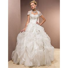 Ball Gown Sweetheart Satin And Tulle Floor-length Wedding Dress – USD $ 499.99