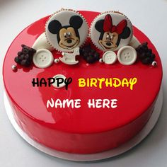 Write Name On Mickey Mouse Birthday Cake Decorated With And Minnie