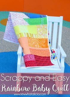 28d651b7e2 Scrappy Easy Rainbow Quilt Pattern and Tutorial  This easy sewing pattern  is also a free
