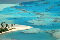 A praia Tereia, em Maupiti, uma das ilhas de Sotavento, na Polinésia Francesa