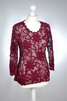 Langarmblusen - Irish Crochet Pullover gehäkelt * Baumwolle* - ein Designerstück von wosor72 bei DaWanda