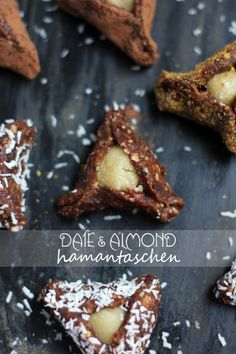 Healthy date and almond hamantaschen that are raw, vegan, gluten free and egg free!