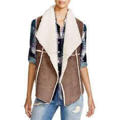 Dylan Faux Shearling Vest ($108) ❤ liked on Polyvore featuring outerwear, vests, cargo, sherpa vest, vest waistcoat, brown waistcoat, cargo vest and brown vest