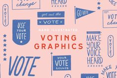 A pack of ten hand illustrated graphics for election Graphic Design Trends, Graphic Design Layouts, Graphic Design Projects, Graphic Design Inspiration, Hand Illustration, Graphic Design Illustration, Illustrations, Election Is Over, Get Out The Vote
