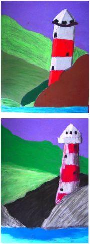 Lighthouses - Elementary art lesson