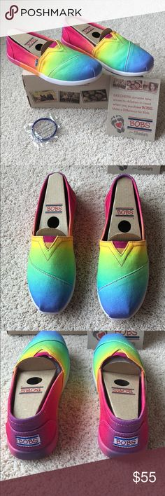 Bob's from Skechers Rainbow shoes 🌈 These BNWT Bob's From Skechers rainbow shoes are so cute!! They have never been worn. They are a size 8. They come with the box and the original blue rubber bracelet that is still also in the packaging and says Make a difference for Kids. Bobs from Skechers Shoes Flats & Loafers