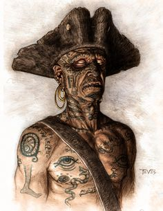 Tattooed Pirate❤️-P Looks like he ran into Voodoo and was turned into a Zombie.