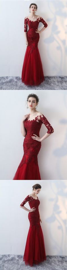 Mermaid Scoop Half Sleeve Lace Long Prom Dresses Evening Gowns. Prom Dresses 2019,long Prom Dresses #eveningdresses #formaleveningdresses #promdresses #ballgowns #graduationparty #promdresseslong #eveninggowns #promdresseslace #prom #promgown #promdress2019 #prom2k19 #quinceanera #pageantdress #promdressesmermaid #amyprom #fashion #eveningdress #burgundypromdresses Gorgeous Prom Dresses, Prom Dresses Two Piece, Simple Prom Dress, Elegant Prom Dresses, Mermaid Prom Dresses, Cheap Prom Dresses, Formal Dresses, Royal Ball Gowns, Junior Prom Dresses