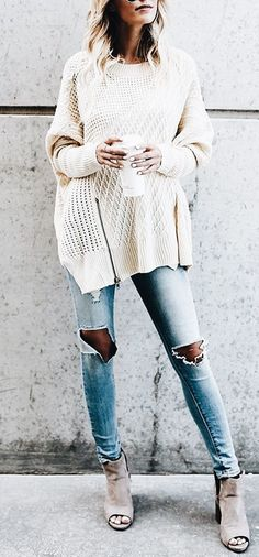 299532029f03d9 Love this winter white oversized sweater with distressed denim jeans.  Schick