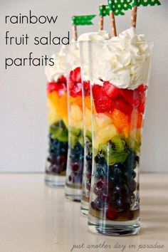 Rainbow Fruit Salad Parfaits - Thirty Handmade Days Fruit Salad Parfaits are the perfect way to celebrate St. Make these adorable, delicious and healthy treats! Fruit Recipes, Cooking Recipes, Healthy Recipes, Party Recipes, Healthy Tips, Pie Recipes, Cooking Tips, Salad Recipes, Dinners For Kids