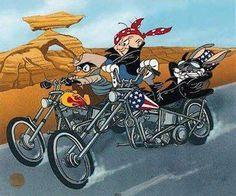 Biker Yosemite Sam - Bing Images - I Love Motorrad Looney Tunes Characters, Looney Tunes Cartoons, Classic Cartoon Characters, Cartoon Art, Harley Davidson Wallpaper, Harley Davidson Art, Harley Davidson Motorcycles, Yosemite Sam, Motorcycle Posters