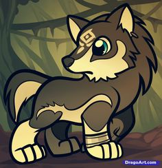 How to Draw Chibi Wolf Link, Wolf Link From Legend of Zelda