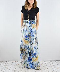 e5a6d18ae84 éloges Navy Floral Tie-Waist Surplice Maxi Dress