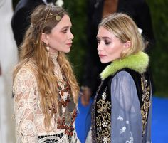 Olsens Anonymous Blog Mary Kate And Ashley Olsen Twins Style Met Gala 2017 Boho Bohemian Lace Dress Sheer Embroidered Green Fur Collar Jacket Beaded Necklace Braid Hair Inspiration