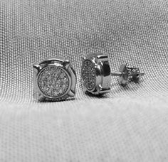 MEN'S Rhodium Plated Pave CZ Stud Post Earrings by ForsgateJewelry