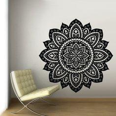 "Large Huge 48"" Size Wall Decal Vinyl Mural Sticker Art Decor Bedroom Yoga Kitchen Ceiling Mandala Menhdi Flower Pattern Ornament Om Indian Hindu Buddha (Z2842b)"