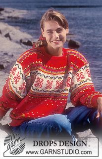 """I think these early sweater designs (80's) are the most elegant and creative.  DROPS jumper with rose pattern in """"Karisma"""". ~ DROPS Design"""