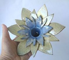 Ceramic flower as  candlestick or Ceramic flower by DeepSilence, $40.00