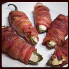 Bacon wrapped jalapenos stuffed with crab and pepper jelly from Uncle Gary's Gourmet Peppers and Pepper Jelly.  Image source:  https://www.facebook.com/photo.php?fbid=435406476496474=o.194608900564468=1