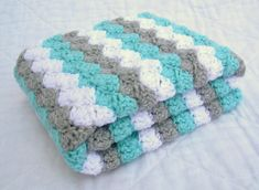 Crochet Baby Blanket Baby Blanket White Grey and by Jadescloset