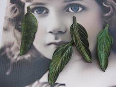 Vintage Verdigris Patina Brass Leaf Stampings by dimestoreemporium
