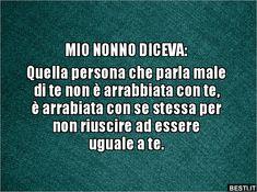 MIO NONNO DICEVA:  Quella persona che parla male di te non.. 365 Quotes, Tumblr Quotes, Wise Quotes, Motivational Quotes, Italian Love Quotes, Thoughts, Humor, Sayings, Frases