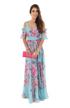 Vestido de Festa Estampado Azul e Pink Fucsia Hair, Girls Dresses, Prom Dresses, Summer Dresses, Casino Outfit, Happy Women, Maid Of Honor, Mother Of The Bride, Casual Outfits