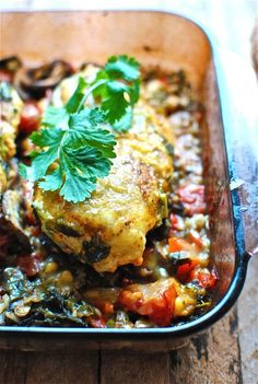 Fiesta chicken and wild rice bake. Gotta love a tasty, hands-off one pot wonder. I baked the whole thing right in the frying pan I sautéed the veggies in, perfect!