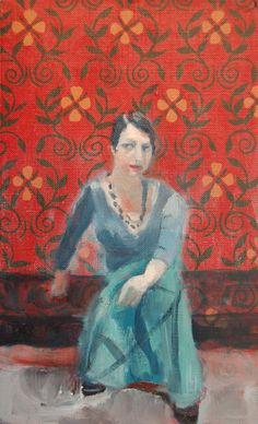 woman in a gallery  Painting by Phil Barron