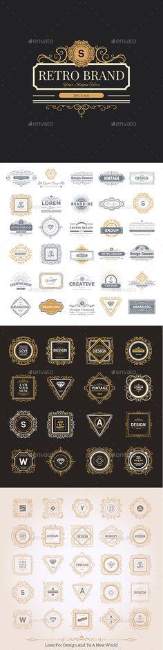 Design Logo and Monograms by Lubashka Retro Vintage labels Insignias or Logo set.Monogram luxury logo template with flourishes calligraphic elegant ornament elements. Graphic Design Layouts, Graphic Design Branding, Layout Design, Logo Design, Ad Design, Vintage Labels, Retro Vintage, Luxury Logo, Badge Logo
