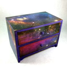 MADE TO ORDER Jewelry Box Galaxy Cosmos Starry Night by poelia Diy Trinket Box, Galaxy Bedroom, Craft Projects, Craft Ideas, Starry Nights, Altered Boxes, Hope Chest, Cosmos, Painted Furniture