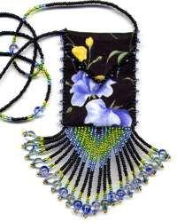 amulet bags   sweet pea amulet bag pattern kit beaded cloth amulet bag