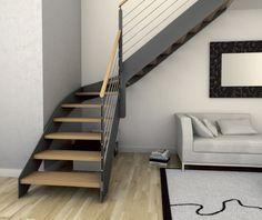 Escalier quart tournant / structure en bois / structure en métal / marche en bois DONOSTI EIMA