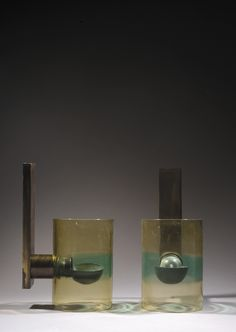Flavio Poli; Brass and Murano Glass Wall Lights for Seguso, c1960.