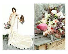 Rustic bouquet. Gold wedding dress.