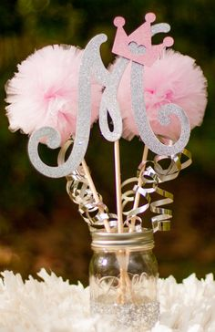 Princess Birthday Party Initial Pink and Silver Baby Girl Centerpiece Table Decoration