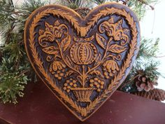 Springerle BLOOMING HEART Blackened Beeswax by BlackRockFolkArt, $24.00