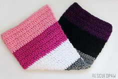Modern Striped Crochet Color Blocked Baby Blanket by RescuedPaw, $40.00
