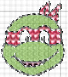 tortuga ninja con hama beads, hama mini, perler, etc Free Cross Stitch Charts, Cross Stitch For Kids, Cross Stitch Baby, Counted Cross Stitch Patterns, Cross Stitch Designs, Cross Stitch Embroidery, Plastic Canvas Ornaments, Plastic Canvas Crafts, Plastic Canvas Patterns