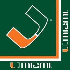 University of Miami Luncheon Napkins - Let's go canes!