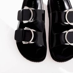 ZARA Woman BNWT Black Leather Sandals With Silver Buckles 1170301 Leather Lining