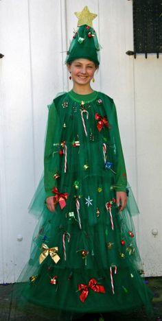 outfit 10 Homemade Christmas Costumes Here are ten creative and unique Christmas outfits that look amazing and will inspire your holiday festivities! Christmas Tree Outfit, Diy Christmas Tree, Homemade Christmas, Christmas Outfits, Christmas Tree Halloween Costume, Kids Christmas, Holiday Costumes, Diy Costumes, Costume Ideas