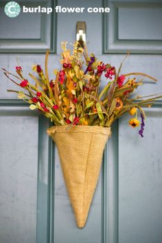 Fall Burlap Flower Cones are an easy to make door decor that is gorgeous with faux fall flowers! Burlap Crafts, Wreath Crafts, Diy Wreath, Wreath Hanger, Fall Crafts, Holiday Crafts, Diy Crafts, Burlap Flowers, Fall Flowers