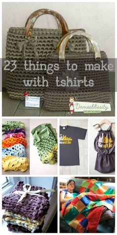 Don't throw those old tshirts away. Turn them into useful household items. Recycle and make do with what you've got. Here are 23 things to make with tshirts - Domesblissity
