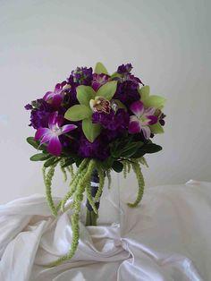 Purple Stock, BOM Dendrobium Orhcids, Green Cymbidium Orchids and Hanging Amaranthys
