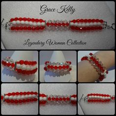 #GraceKelly bracelet, #legendary woman, ruby, red and white, Swarovski glass and crystal, chinese crystal