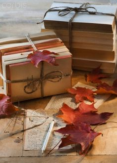 A great gift idea for a friend. Books, journals wrapped in twine.