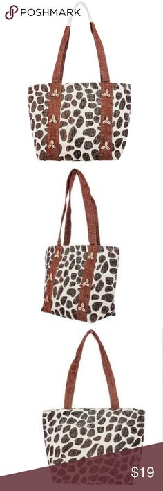 "Shell Accent Animal Print Tote Bag 2 Left!  Animal/Giraffe print tote back with shell accents. All over print with handles. Zip closure with inside pocket.  80% Paper 20% Polyester  Measures approximately 18"" length  x 12"" height x  5.5"" deep Bags Totes"